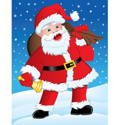 Santa with Gifts and Bell vector image vector image