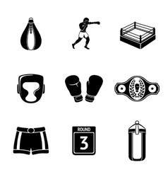 Set of boxing icons - gloves shorts helmet vector