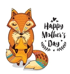 Card for Mothers Day with foxes vector image vector image