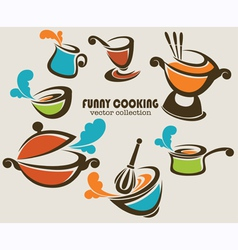 funny cooking objects vector image vector image
