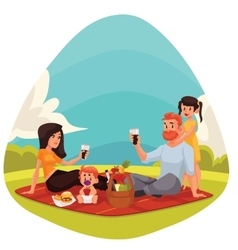 Happy family having picnic together outdoors vector image