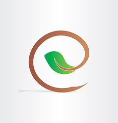letter e eco branch with leaf symbol vector image vector image