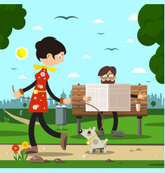people in city park man on bench reading vector image vector image