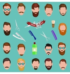 Set of men cartoon hairstyles with beards and vector image vector image