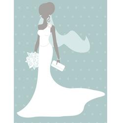 Silhouette bride vector image