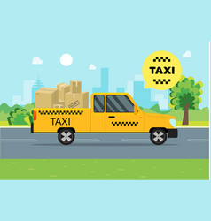 taxi service moving car on a landscape background vector image vector image