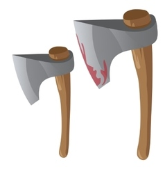Two retro bloody axe with wood handles vector image vector image