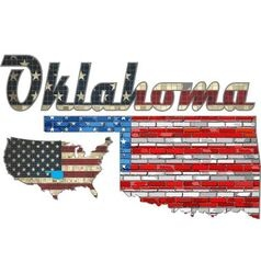USA state of Oklahoma on a brick wall vector image vector image