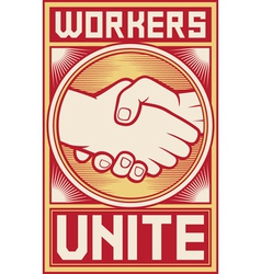 workers unite poster vector image vector image