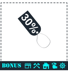 30 percent discount icon flat vector