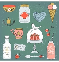 Colorful collection of sweets and drinks vector image vector image