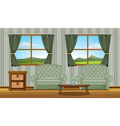 Cushion chairs and a side table vector image vector image