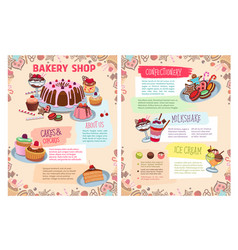poster of bakery sweet desserts and cakes vector image vector image