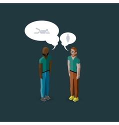 3d isometric cartoon of men or guys characters vector