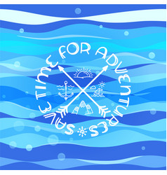abstract blue waves with calligraphic logo save vector image