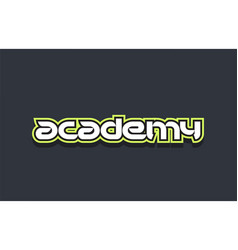 Academy word text logo design green blue white vector