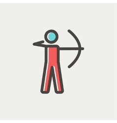 Archery sport thin line icon vector image
