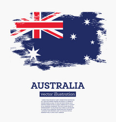 australia flag with brush strokes vector image