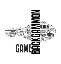 Backgammon history text word cloud concept vector