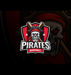 baseball pirate sport logo design vector image