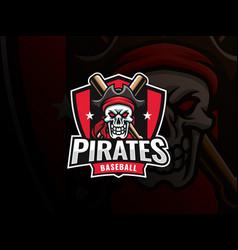 Baseball pirate sport logo design vector