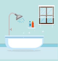 Bathroom with tub scene vector