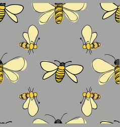 Bees flying around on gray background seamless vector