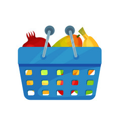 blue plastic shopping basket full of fresh fruits vector image