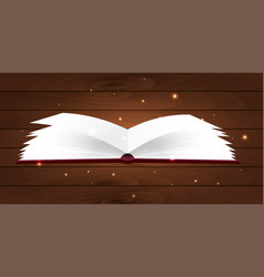 Book poster open book with mystic bright light on vector