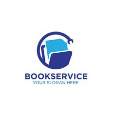 book service management logo designs vector image