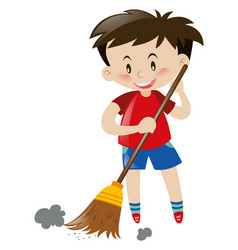 Boy sweeping floor with broom vector