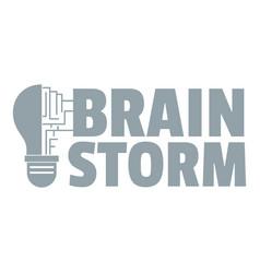 Brain storm logo simple gray style vector