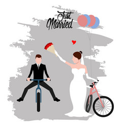bride and groom on bicycles just married couple vector image