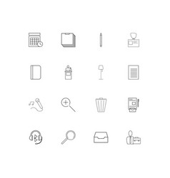 business and office linear thin icons set vector image