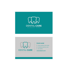 business card template design dental logo design vector image
