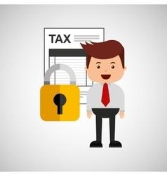 Business man secure tax money vector