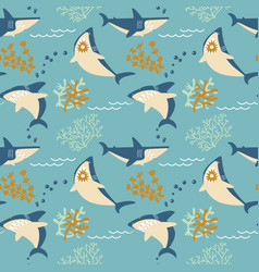 cartoon angry sharks seamless pattern vector image