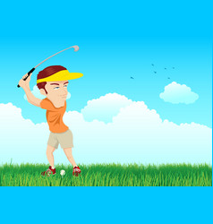 Cartoon of a golfer vector