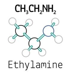 CH3CH2NH2 ethylamine molecule vector image