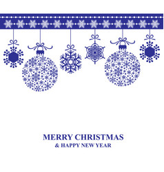 christmas card with hanging baubles vector image