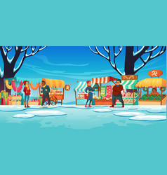 christmas market with stalls sellers and customers vector image