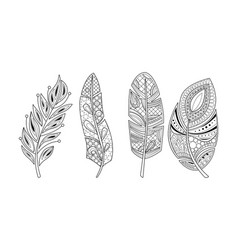 collection stylized feathers black and white vector image