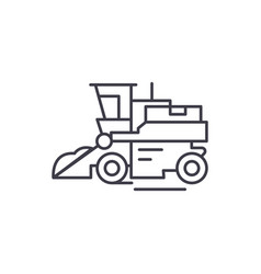 combine harvester line icon concept combine vector image