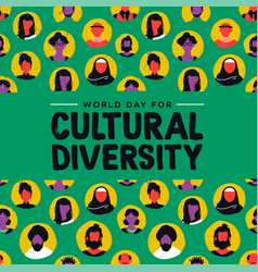 Cultural diversity card diverse ethnic people vector