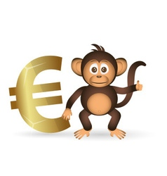 Cute chimpanzee little monkey and euro symbol vector