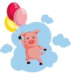 Cute flying pig holding balloons cartoon vector