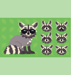 cute raccoon sitting of cool vector image
