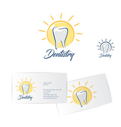 Dentistry logo dentist business card vector