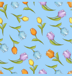easter seamless pattern with tulips branch and vector image