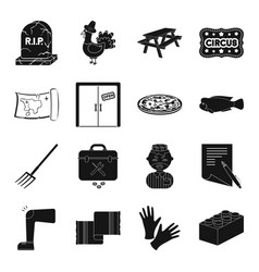Entertainment hotel and other web icon in black vector